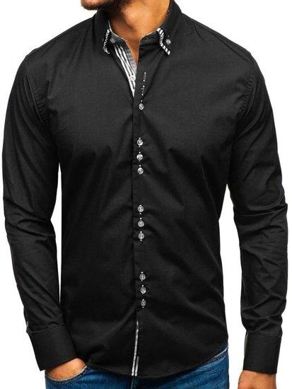 Koszula męska elegancka z długim rękawem czarna Bolf 4703