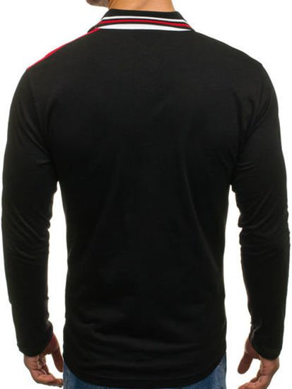 Koszulka polo męska z długim rękawem czerwona Denley 0729