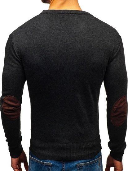Sweter męski w serek grafitowy Denley BM6108