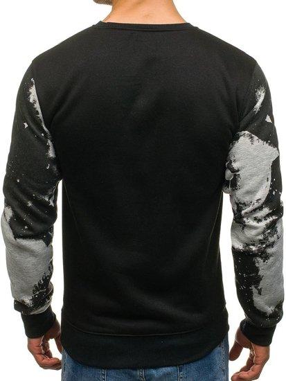 Bluza męska bez kaptura z nadrukiem czarno-szara Denley DD173