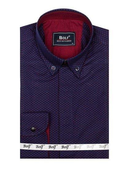 Koszula męska we wzory z długim rękawem granatowo-bordowa Bolf 7715