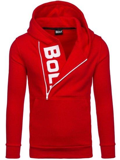 Bluza męska z kapturem z nadrukiem czerwono-biała Bolf 01S