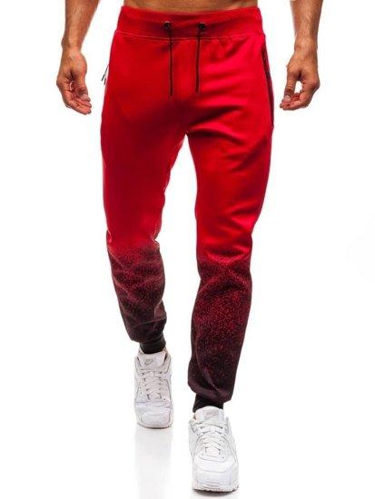 Spodnie męskie dresowe joggery czerwone Denley HM007
