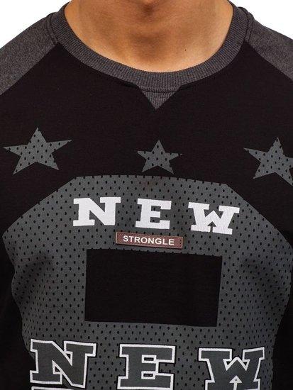 Bluza męska bez kaptura z nadrukiem antracytowa Denley 2105
