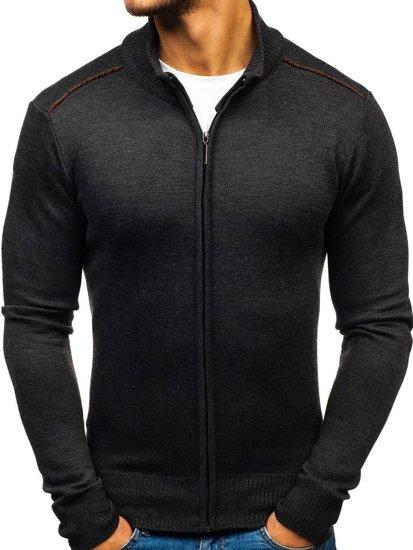 Sweter męski rozpinany grafitowy Denley BM6077