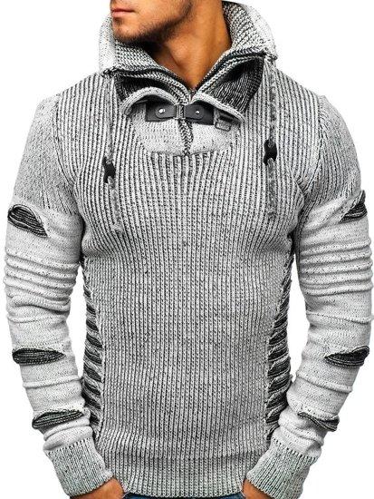 Sweter męski szaro-czarny Denley 20001