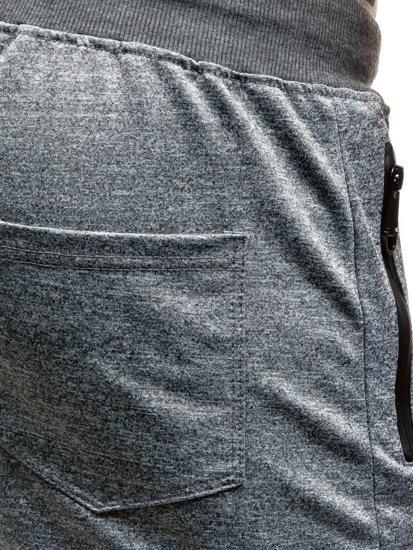 Krótkie spodenki dresowe męskie szare Denley 7123
