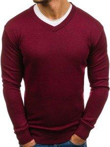 Sweter męski w serek bordowy Denley s001
