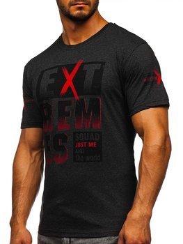 Antracytowy T-shirt męski z nadrukiem Denley 14312