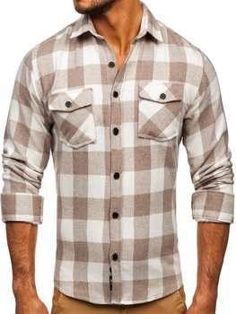 Beżowa koszula męska flanelowa z długim rękawem Denley 20723
