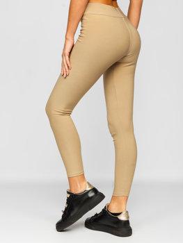 Beżowe legginsy damskie Denley YW01053