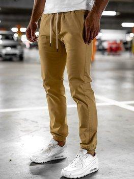 Beżowe spodnie męskie joggery Denley 1145
