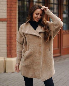 Beżowy płaszcz damski Denley 7118-1