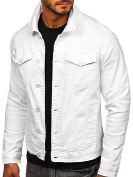 Biała jeansowa kurtka męska Denley G039