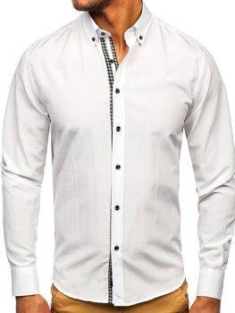 Biała koszula męska z długim rękawem Bolf 20715