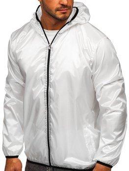 Biała przejściowa kurtka męska wiatrówka z kapturem BOLF 5060