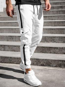 Białe spodnie joggery bojówki męskie Denley 0012