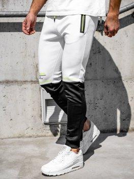 Białe z nadrukiem dresowe spodnie męskie Denley AM85