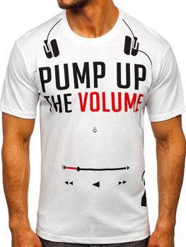 Biały T-shirt męski z nadrukiem Bolf 1171