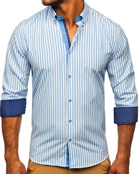 Błękitna koszula męska w paski z długim rękawem Bolf 20704