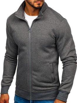Bluza męska bez kaptura rozpinana antracytowa Denley B002