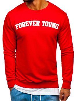 Bluza męska bez kaptura z nadrukiem FOREVER YOUNG czerwona Bolf 11116