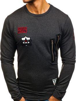 Bluza męska bez kaptura z nadrukiem antracytowa Denley 0738