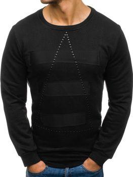 Bluza męska bez kaptura z nadrukiem czarna Denley 9102
