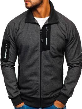 Bluza męska bez kaptura z nadrukiem czarno-biała Denley 3842