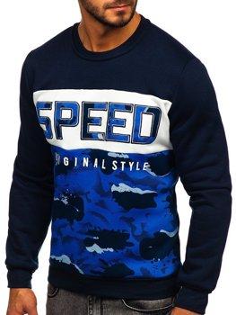 Bluza męska bez kaptura z nadrukiem niebieska Denley HY605