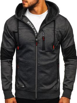 Bluza męska z kapturem rozpinana czarna Denley TC869