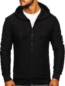 Bluza męska z kapturem rozpinana czarna Denley TO02