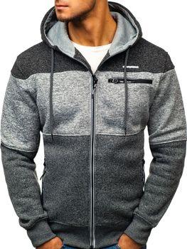 Bluza męska z kapturem rozpinana grafitowo-czarny Denley TC814