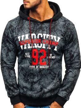 Bluza męska z kapturem z nadrukiem grafitowa Denley BK08