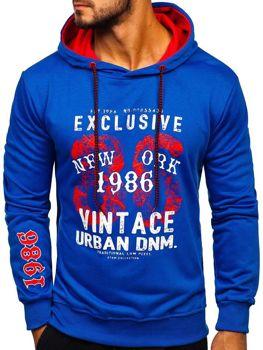 Bluza męska z kapturem z nadrukiem niebieska Denley BK03