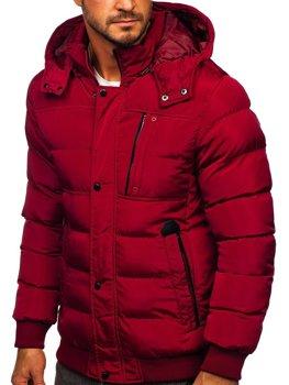Bordowa pikowana kurtka męska zimowa z kapturem Denley 1185