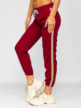 Bordowe spodnie dresowe damskie Denley YW01020B
