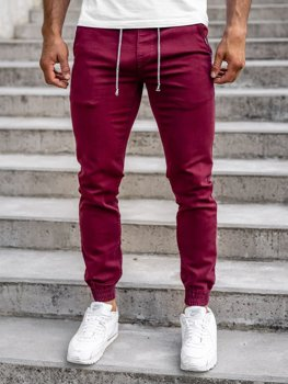 Bordowe spodnie joggery męskie Denley CT8808