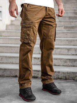 Brązowe spodnie bojówki plus size męskie z paskiem Denley CT8901