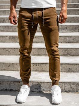 Brązowe spodnie joggery męskie Denley CT8808