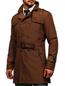 Brązowy dwurzędowy płaszcz męski prochowiec z wysokim kołnierzem i paskiem Denley 0001