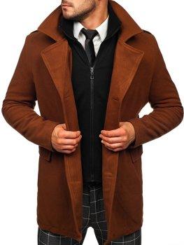 Brązowy dwurzędowy płaszcz męski zimowy z odpinaną dodatkową stójką Denley 8805