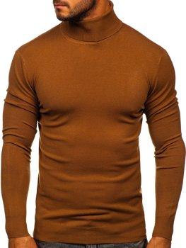 Brązowy golf sweter męski bez nadruku Denley YY02