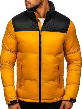 Camelowa pikowana kurtka męska zimowa Denley 1186