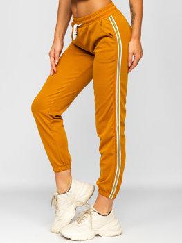 Camelowe spodnie dresowe damskie Denley YW01020B