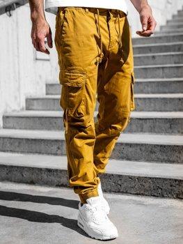 Camelowe spodnie joggery bojówki męskie Denley 8956