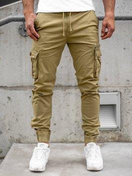 Camelowe spodnie joggery bojówki męskie Denley CT6702S0
