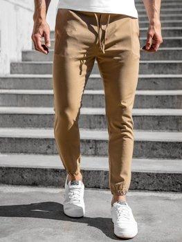 Camelowe spodnie materiałowe joggery męskie Denley 0011