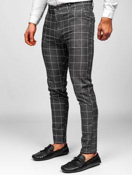 Ciemnografitowe spodnie materiałowe chinosy w kratę męskie Denley 0002