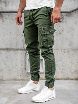 Ciemnozielone spodnie joggery bojówki męskie Denley CT6702